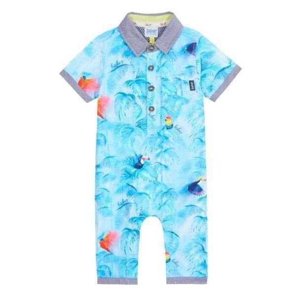 464d2979373150 Ted Baker Baby Boys Romper Bodysuit Parrot Polo Blue Designer 3-6 Months