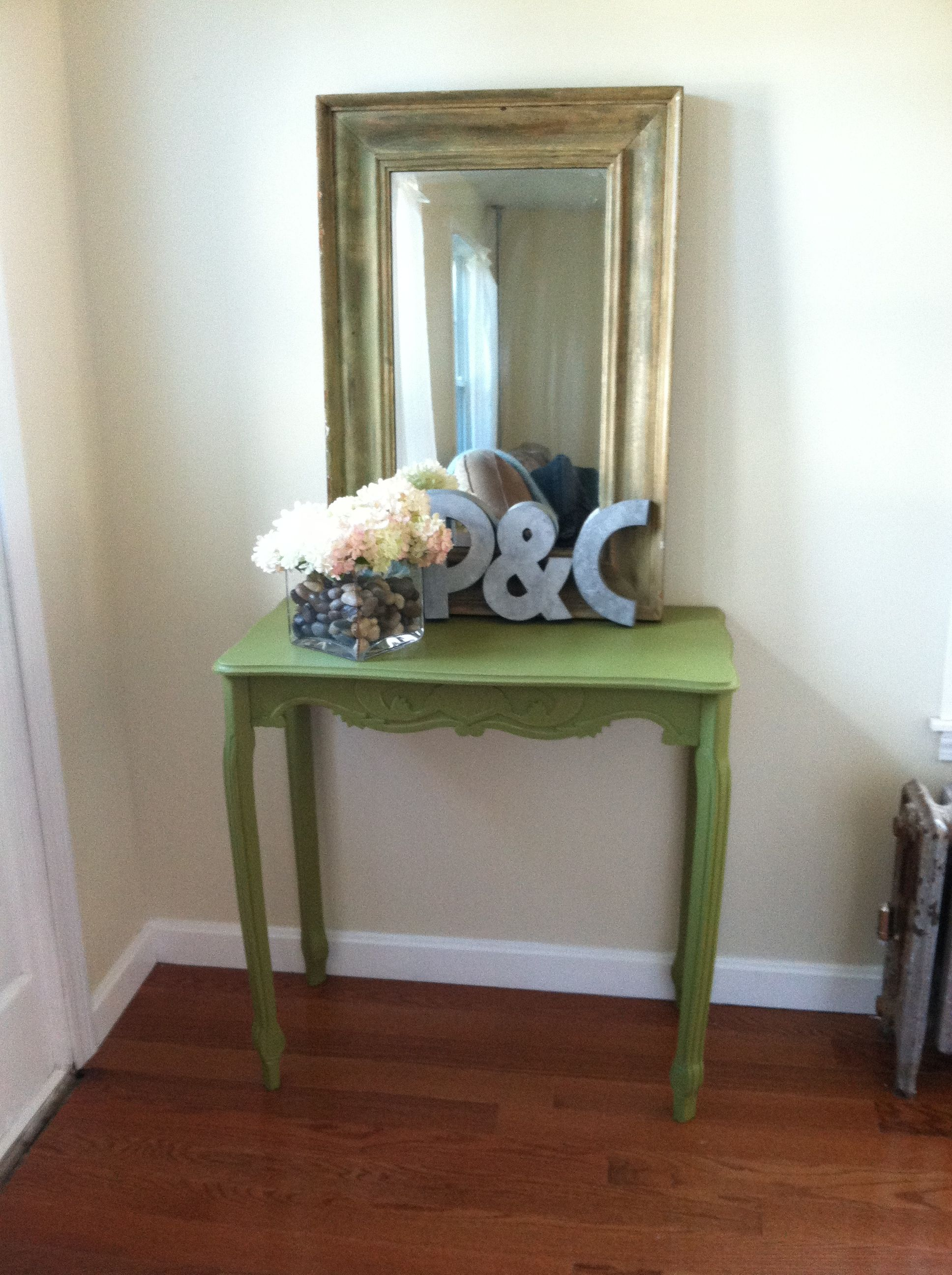 Junior hallway ideas  New hall design Console table from home goods antique mirror from
