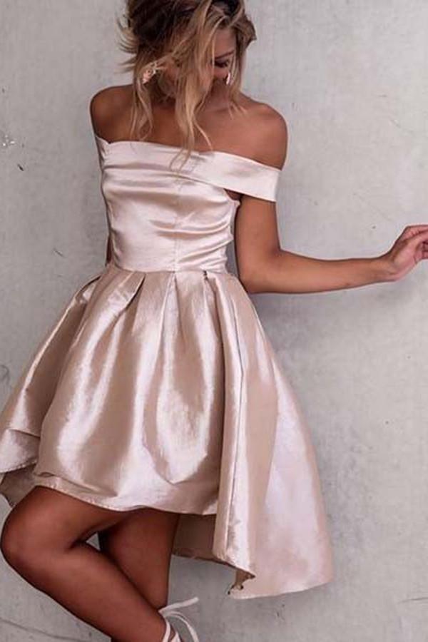 c0b6ffc8894 Pink Off Shoulder Homecoming Dresses