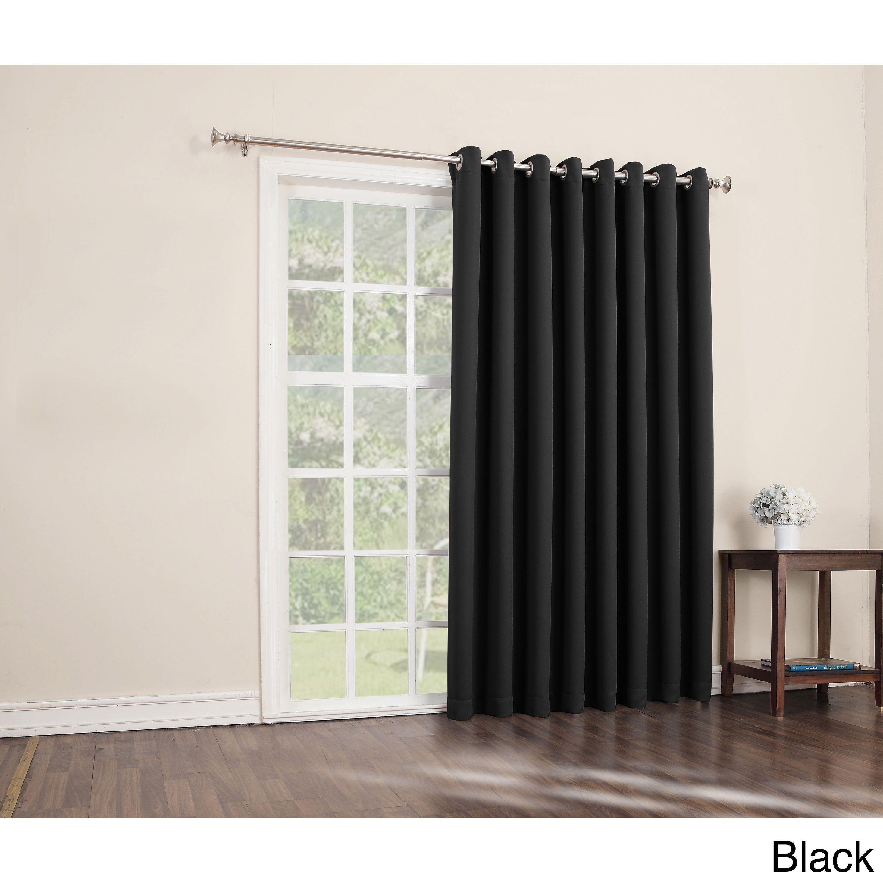 Sun Zero Hayden Grommet Blackout Patio Door Window Curtain Panel (Black  84 Inches)