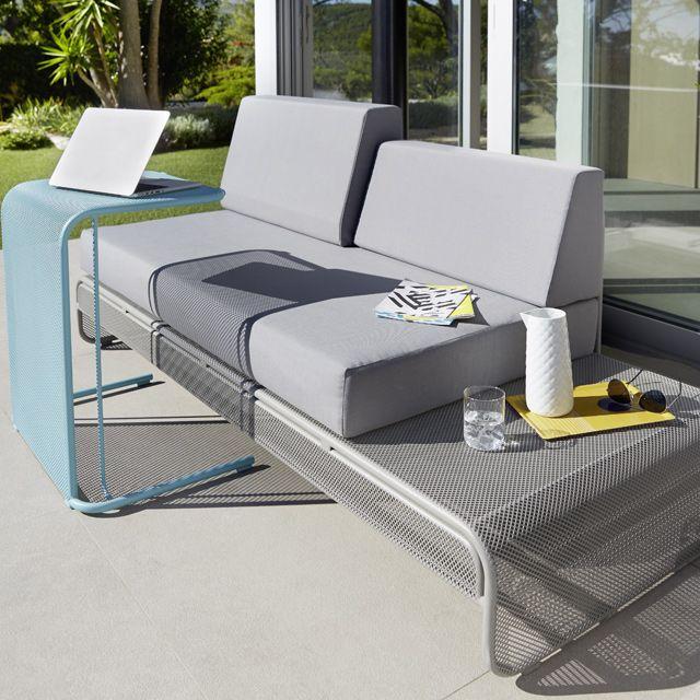 sofa en m tal chiva gris avec coussins castorama jardin pinterest mobilier de balcon. Black Bedroom Furniture Sets. Home Design Ideas