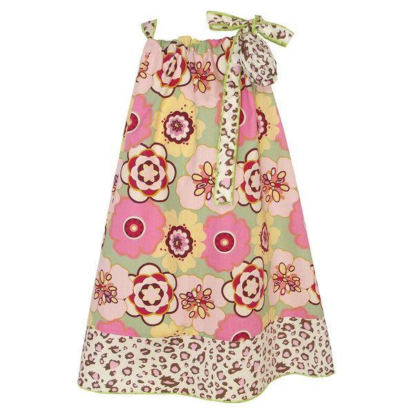 AnnLoren Girls Green and Pink Flower Pillow Case Dress Set