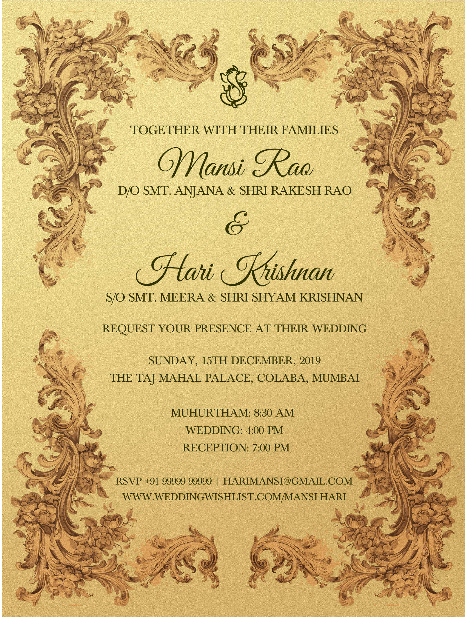 E Invite Imperial Elegance Invitations4weddings Make Wedding Invitations Wedding Reception Invitations Marriage Invitations Reception Invitations
