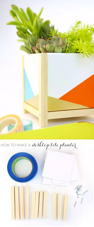 Ingeniosa maceta de escritorio con cer mica pintada mis macetas diy diy gifts y crafts - Colgadores de macetas ...