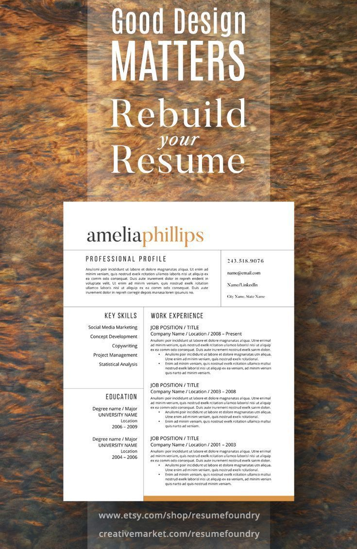 Modern resume template for word 1 3 page resume cover letter rebuild your resume copy the contents of your old resume into this new template thecheapjerseys Gallery