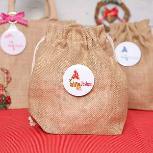 Christmas Snowman Personalised Mini Jute Sack - stockings & sacks
