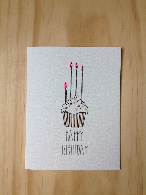 Heart Sprinkle Cupcake Birthday Card Drawing Birthday Cards