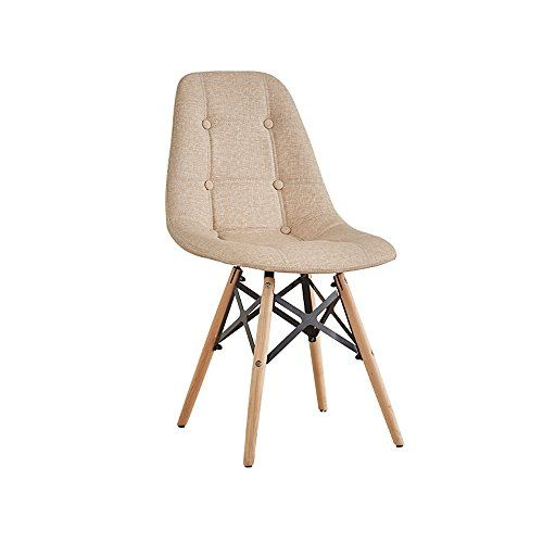 Black Eiffel Dining Computer Desk Chair Padded Seat Wooden Leg Home Office Study