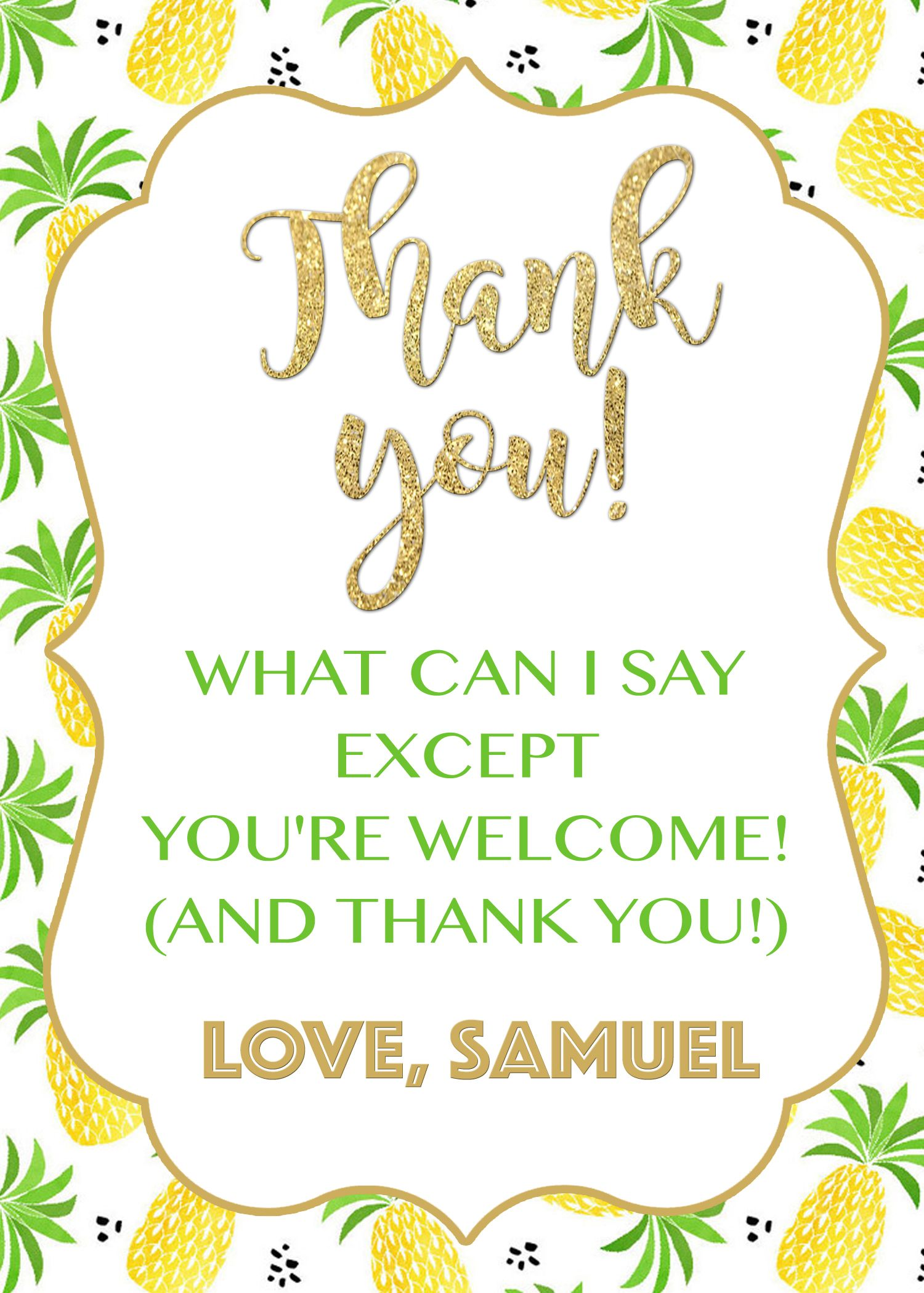 Aloha Thank You Card Pineapple Thank You Card Luau Thank You