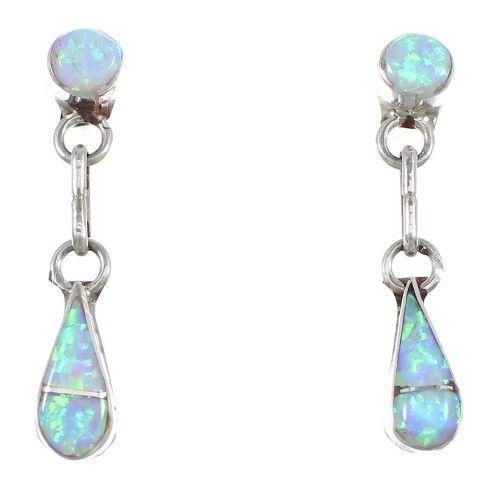 Sterling Silver Opal Zuni Indian Post Dangle Earrings YX90273