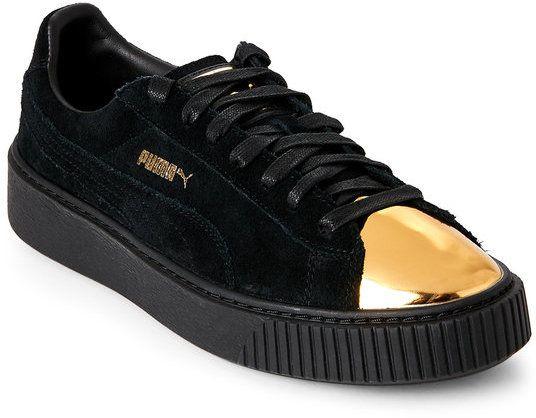c03517b736 Puma Black & Gold Suede Platform Sneakers | Products | Black suede ...