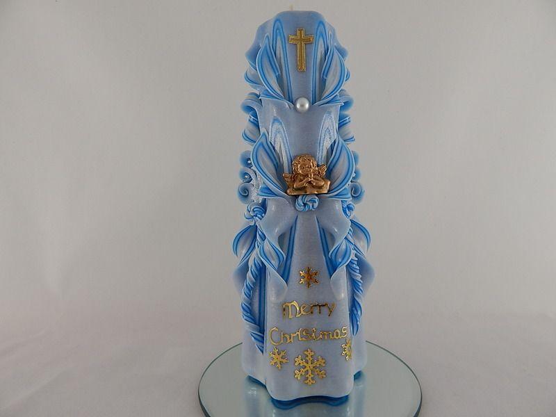 "Festliche Kerze ""Merry Christmas"". Unikat. von Lenz candles auf DaWanda.com"