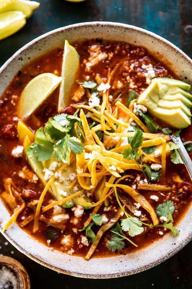 Crockpot Spicy Vegetarian Tortilla Soup With Quinoa Half Baked Harvest Recipe Vegetarian Tortilla Soup Vegetarian Recipes Quinoa Soup