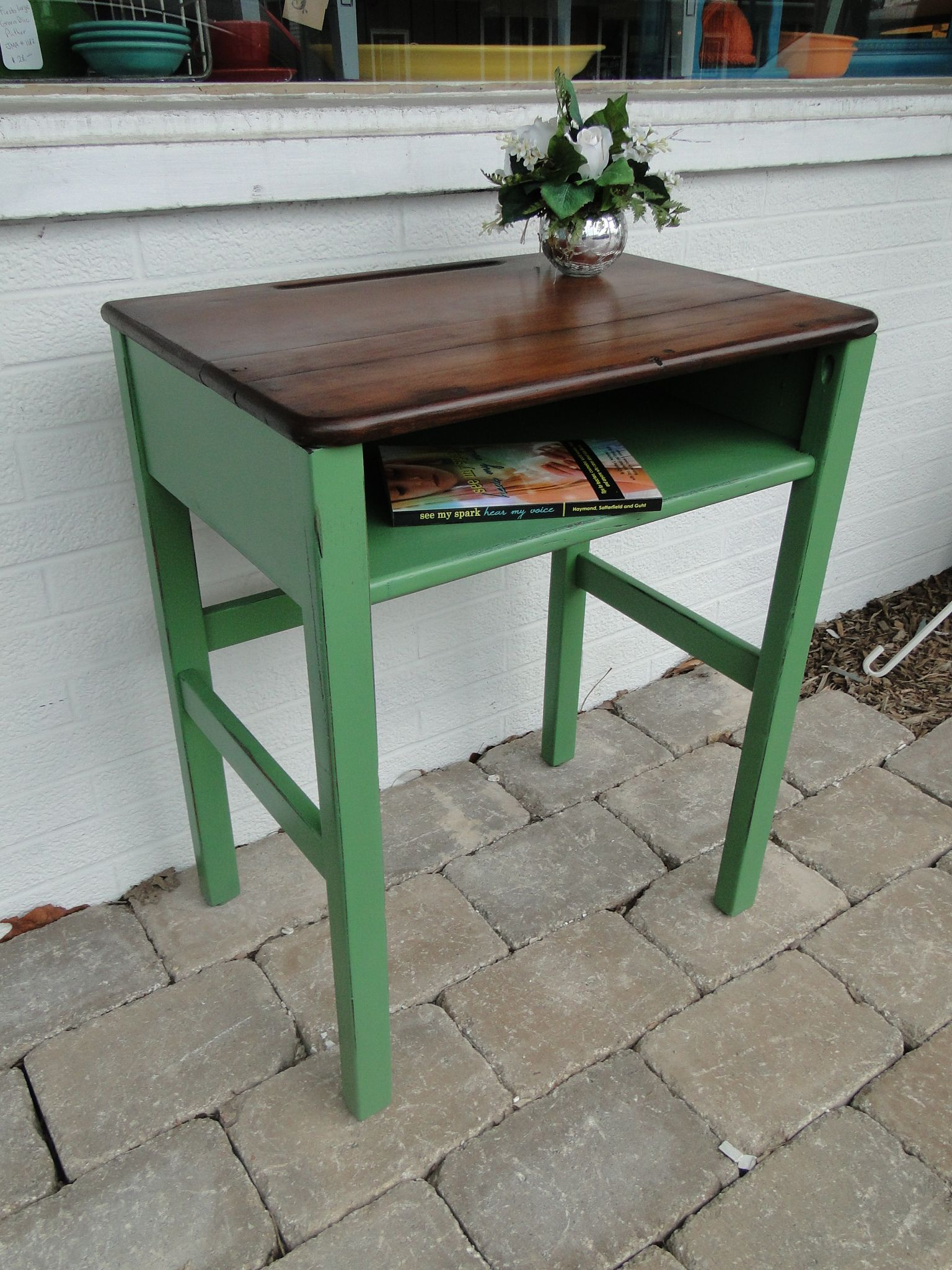 old wooden school desk in green ith darker stained top. Modern Vintage - Vintage School Desk Used As A Side Table - Very Cool Design