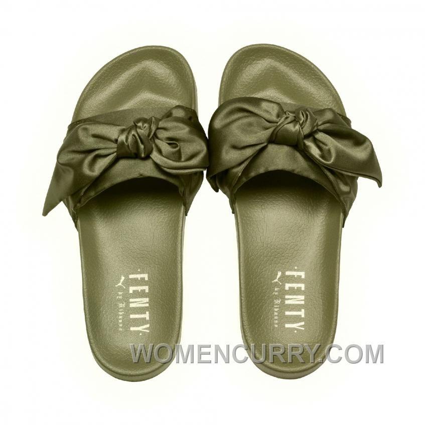 99a6e09ef916 Puma X Fenty Bow Slide Olive Branch-Puma Silver Women Sandals Number ...