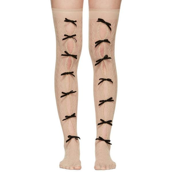 e50b74f0160806 Gucci Beige Moulinoir Bow Socks ($330) ❤ liked on Polyvore featuring  intimates, hosiery, socks, beige, knee length socks, lace trim knee high  socks, ...