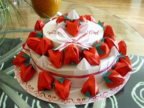 Strawberry cake origami artwork paper design