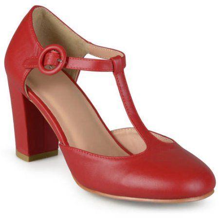 Brinley Co. - Women's T-strap Chunky Heel Round To