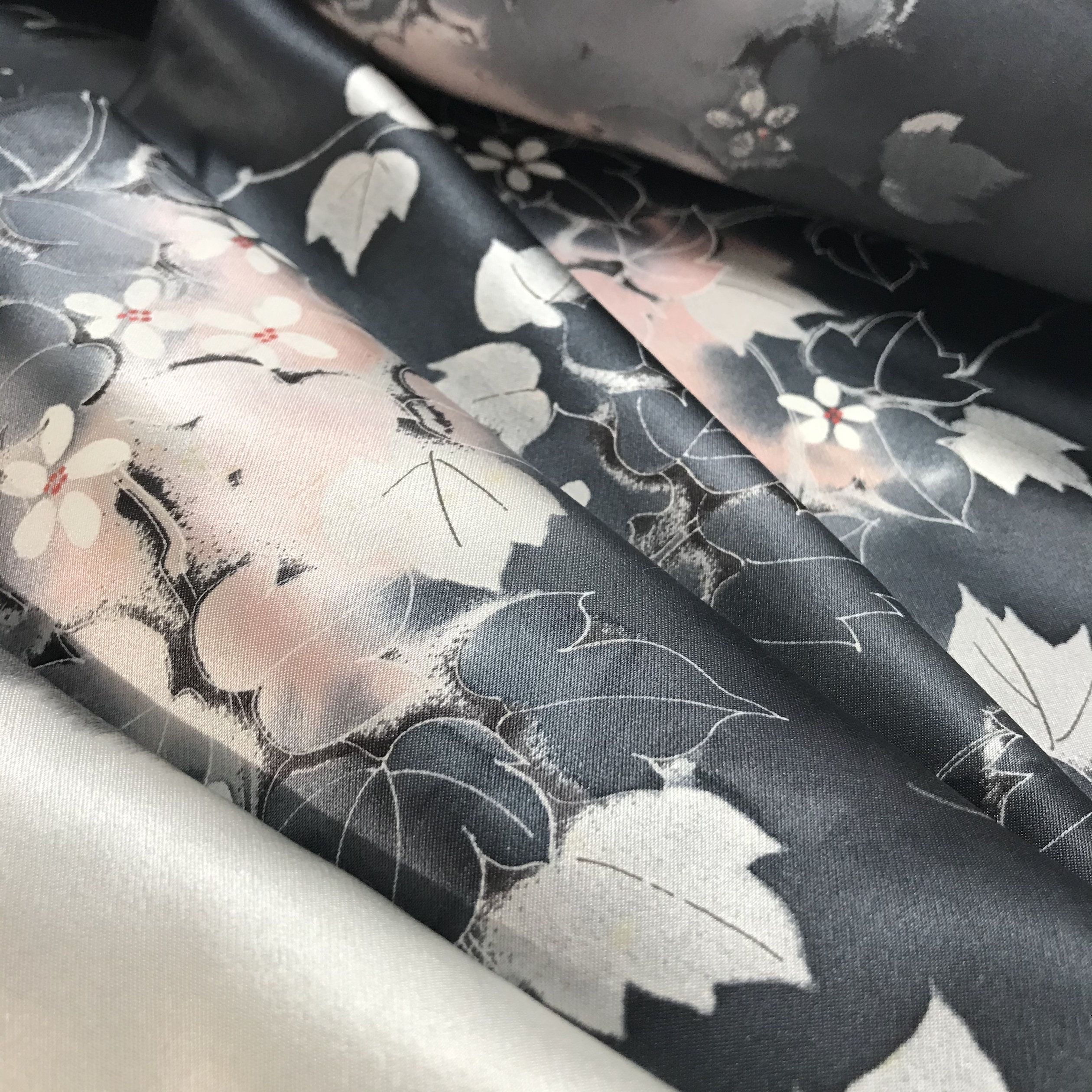 Vintage Japanese Silk Fabric By The Yard Floral Silk Etsy Japanese Silk Hand Painted Fabric Vintage Kimono Fabric