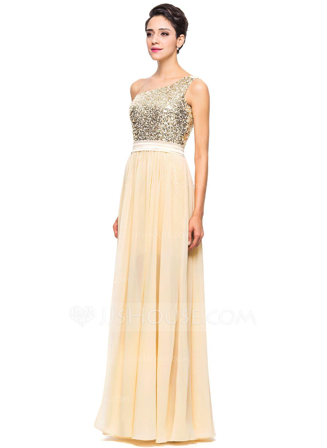 796aaf41e1 A-Line Princess One-Shoulder Asymmetrical Chiffon Sequined Prom Dress  (018056713) - JJsHouse