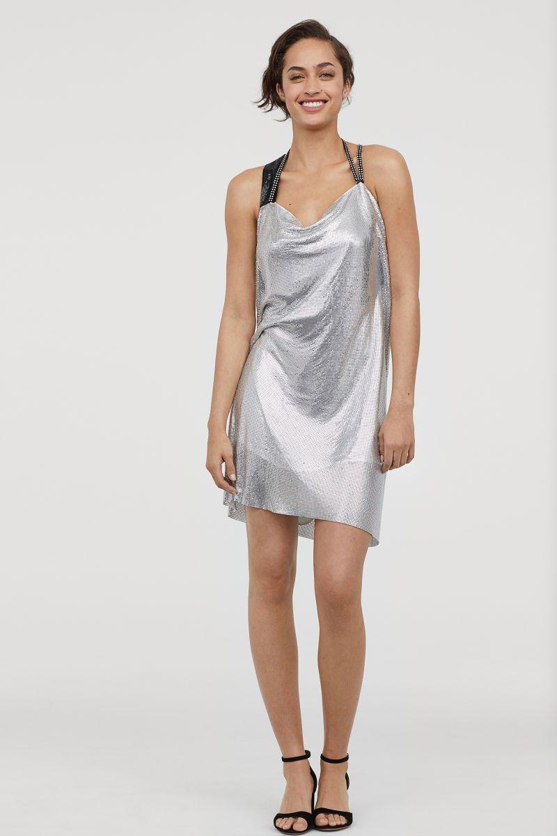 Drapiertes Neckholderkleid   Silberfarben   DAMEN   H&M DE ...
