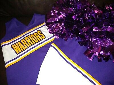 Advertisement(eBay) Purple, yellow and white WARRIORS girl's cheerleading uniform with pom poms EUC #cheerleaderuniform