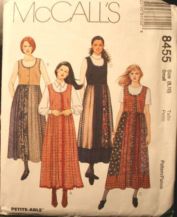 McCalls 8455, Vintage Jumper Sewing Pattern, Misses Jumper, Petite ...