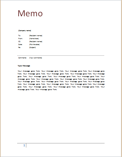 Memo template at worddocuments – Memo Templates for Word
