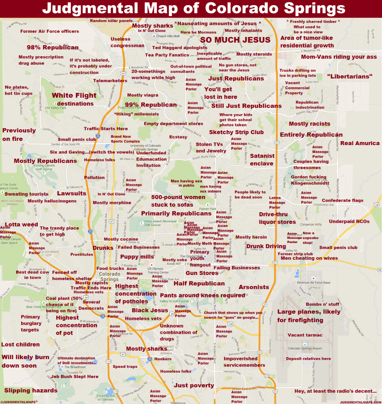 Colorado Springs CO By Anonymous Copr  Judgmental Maps All - Chicago judgemental map