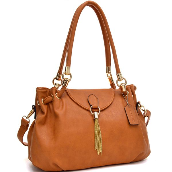 Loop Through Shoulder Bag with Tassel Accent. Flapover with magnetic snap  closure hides a top zip closure on main compartment. 7daefa232e233