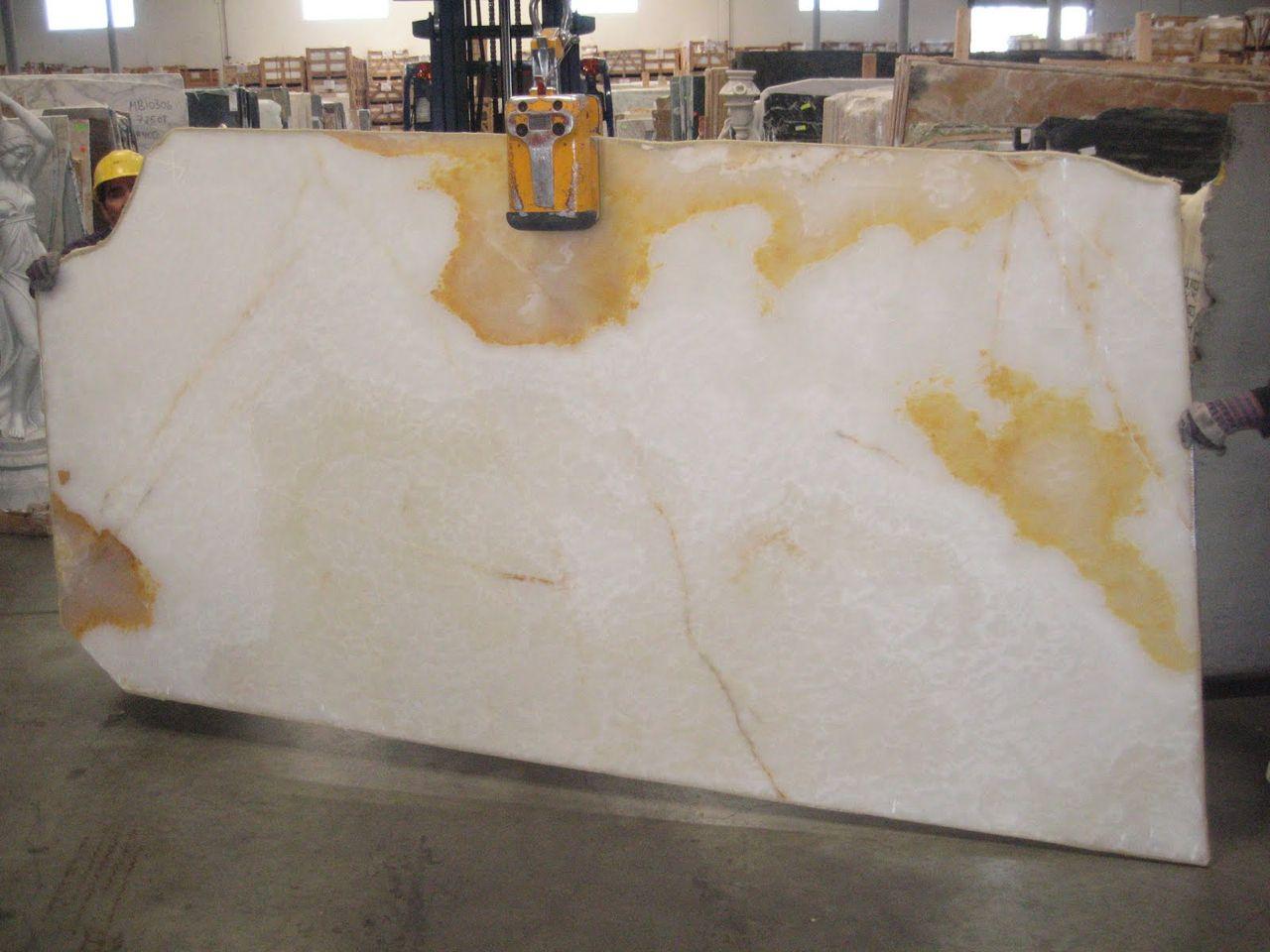 Onyx White Limone Slabs