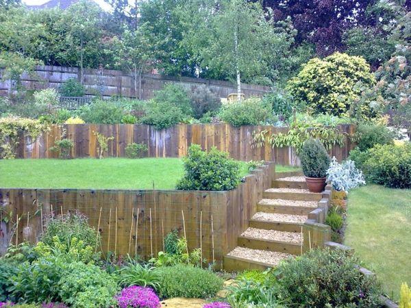 Garten Am Hang Anlegen Gartenpflanzen Steingarten Treppen Aus Holz