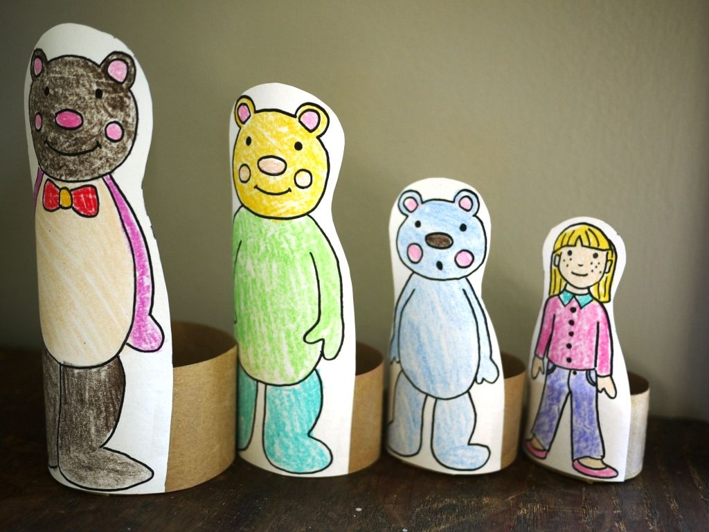 Goldilocks And The 3 Bears Nesting Tp Craft With Printable Pattern Use For Math Sizes And