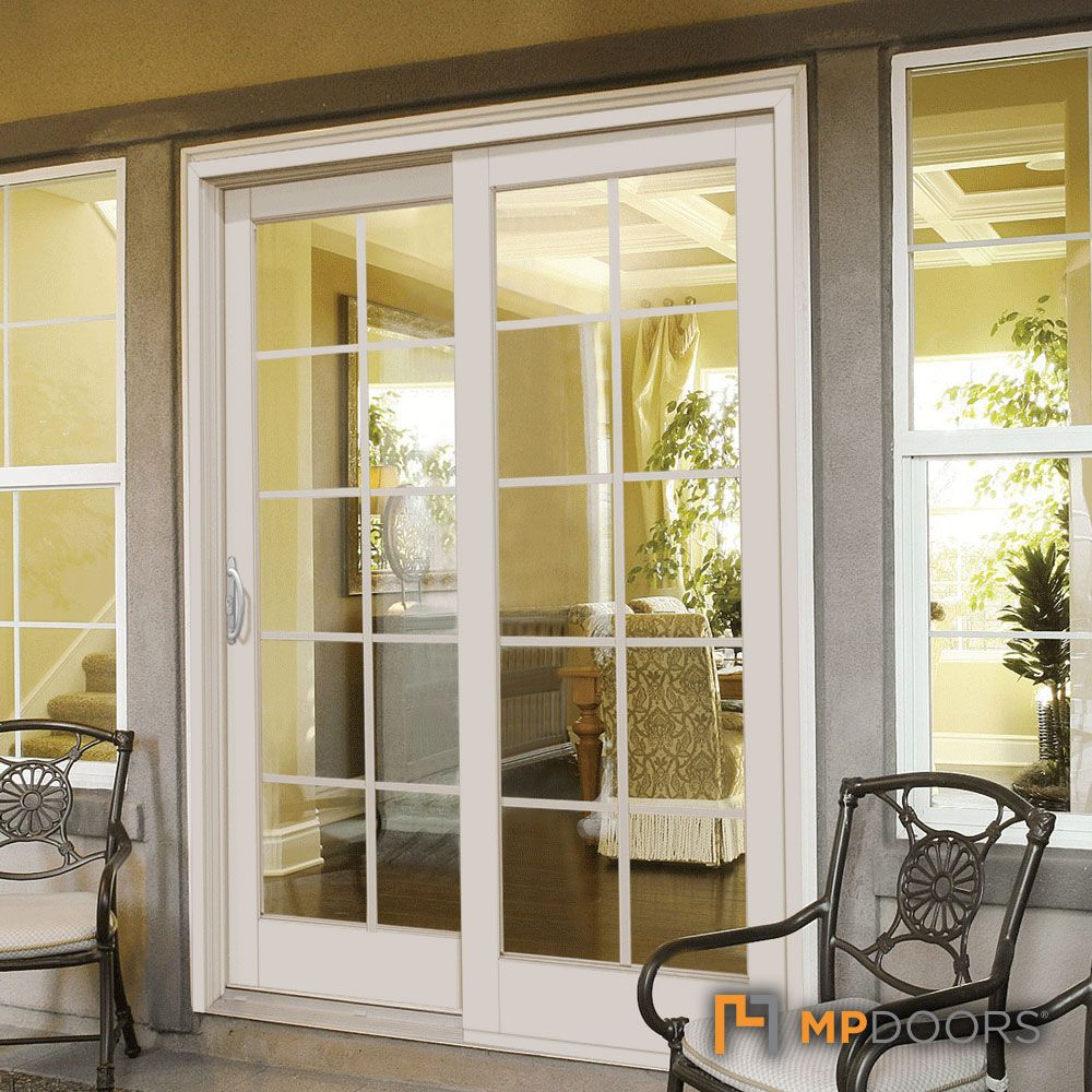 Mp Doors Composite Gliding Patio Door With 10 Lite Gbg Left Hand French Doors Exterior French Doors Interior French Doors