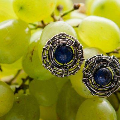 wire wrap ear studs with lapis lazuli