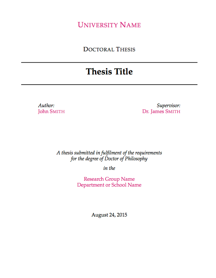 Cover sheet master thesis proposal