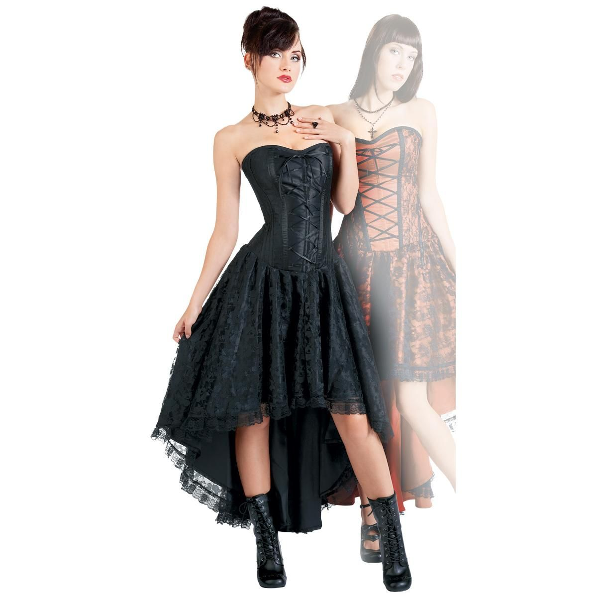 Black Lace Hi-Lo Corset Bustier Mollflander - Maxi dress by Burleska -  Article Number  166654   EMP  130 7c93f7af3f