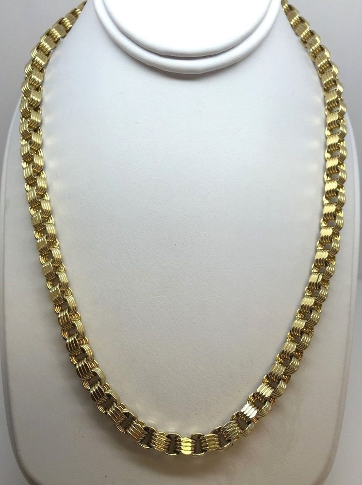10k Yellow Gold Box Bullet Byzantine Link Chain Necklace 40 Inches 5 4 Mm 36 8g Chain Necklace Necklace Chain