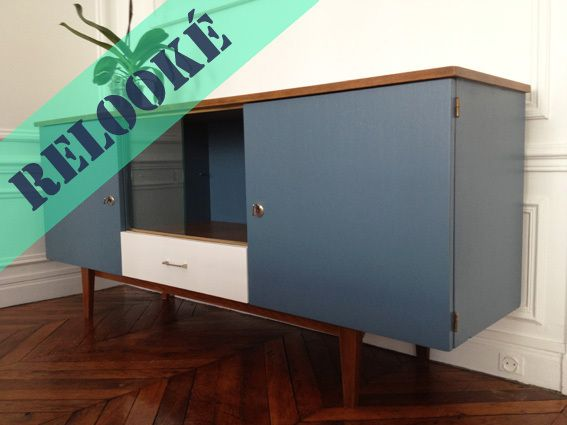 meuble-enfilade-années-50-scandinave-peinture-bleu-gris-vintage - peindre un meuble laque blanc