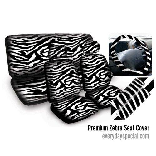 New 11pcs Zebra Car Mats Seat Steering Wheel Cover Set