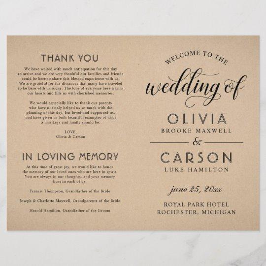 Black Script Rustic Chic Kraft Wedding Ceremony