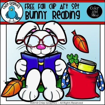 FREE Bunny Reading Fall Clip Art Set - Chirp Graphics #clipartfreebies