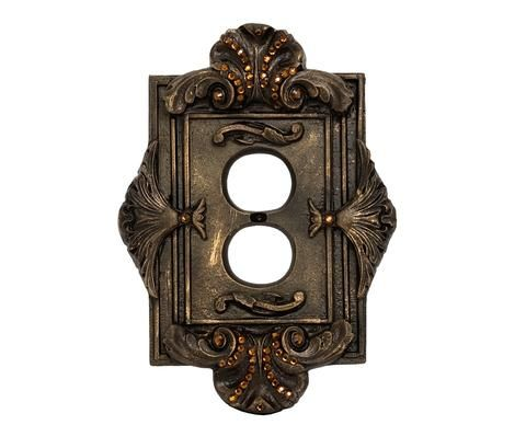 Decorative Outlet Cover Switch Plate Florentine With Swarovski