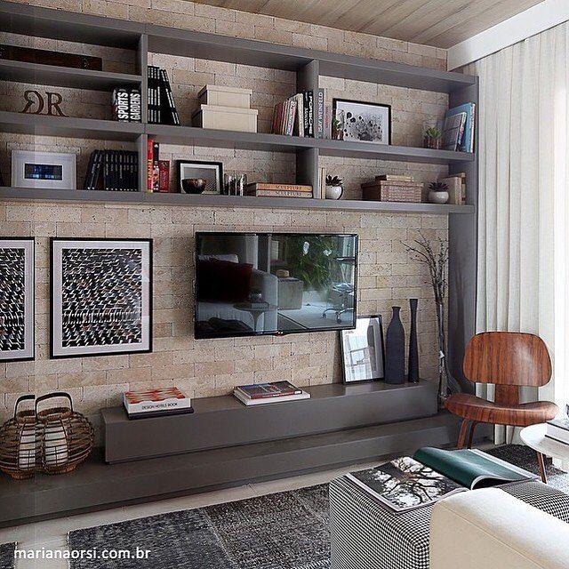 boa ideia de parede para a tv. podemos adaptar sem moveis fixos / planejados (