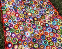 Multicolor crochet BLANKET - FloWer~PoWer AFGHAN - colorful GrannY SquarE Blanket