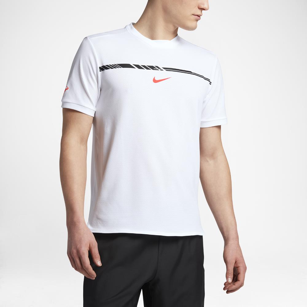 0277a4f0116c3 Nike NikeCourt AeroReact Rafa Challenger Men s Short Sleeve Tennis Top Size  XS (White) - Clearance Sale