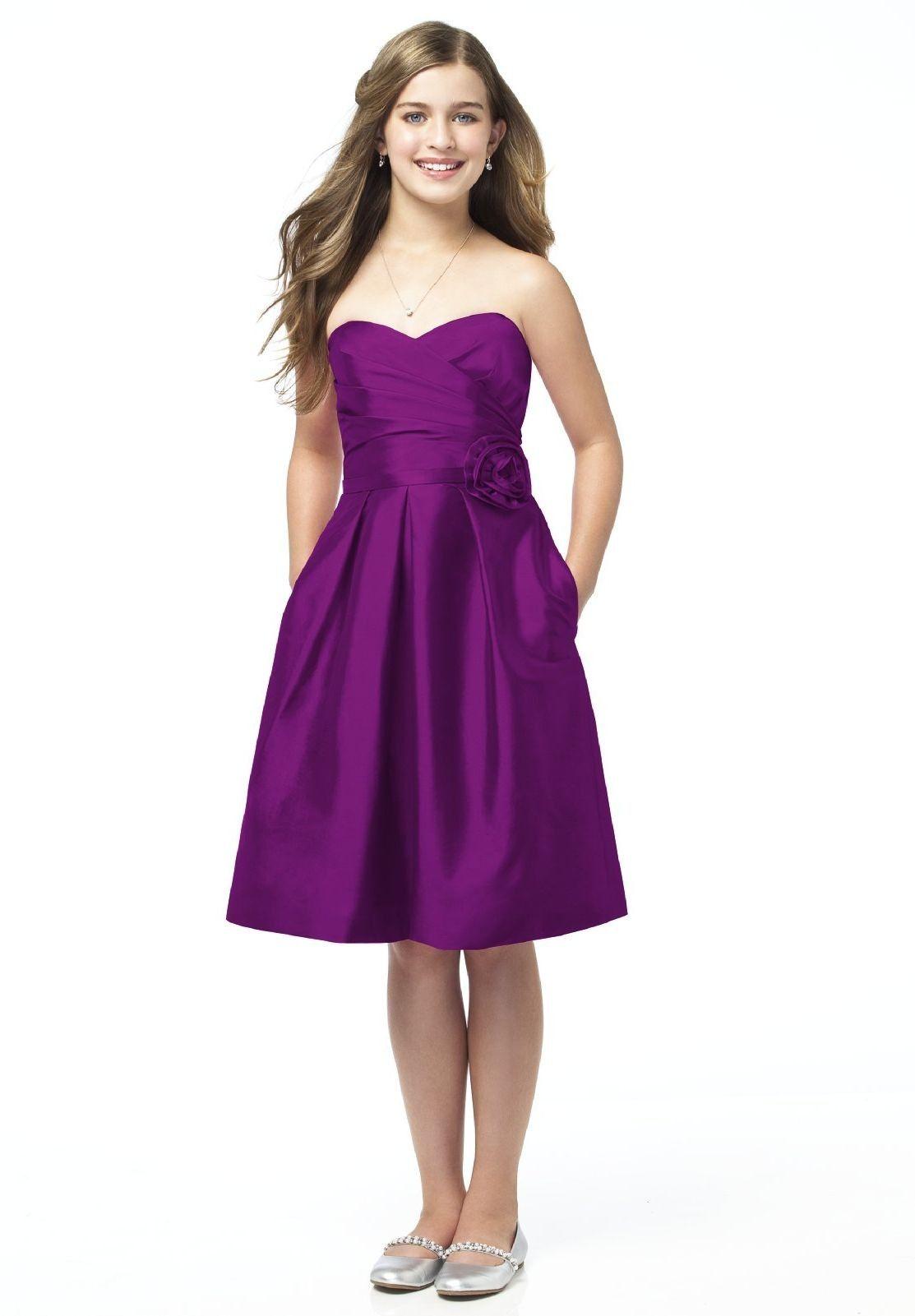 Satin Strapless Sweetheart A-line Knee-length Junior Bridesmaid Dress - Bridesmaid - Fashionweddingdress.co.uk