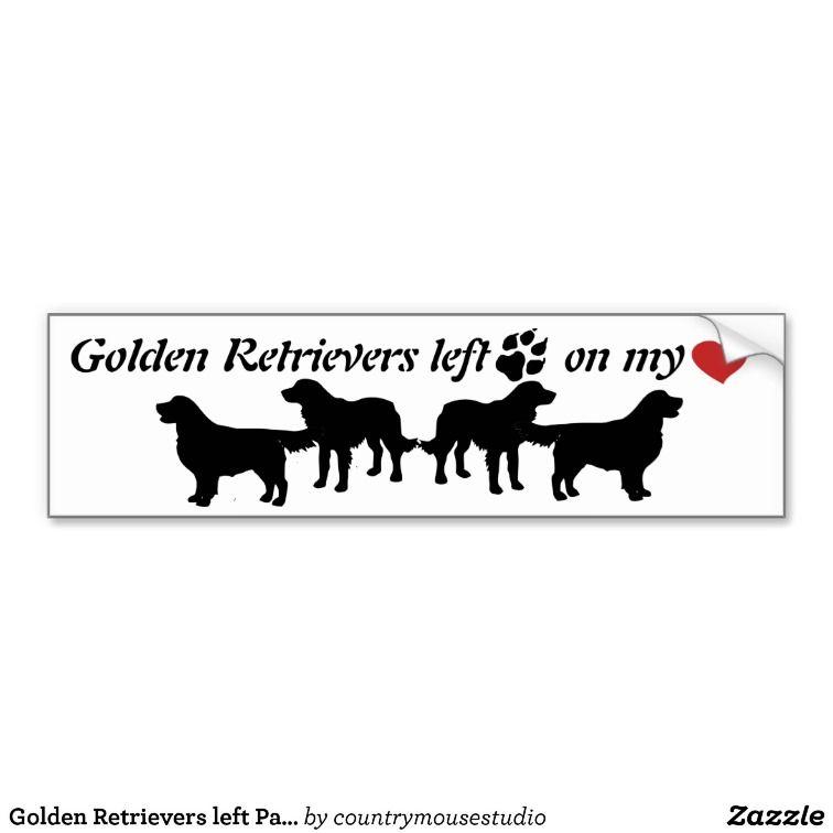 Golden Retrievers Left Paw Prints Heart Fun Dog Golden Retriever