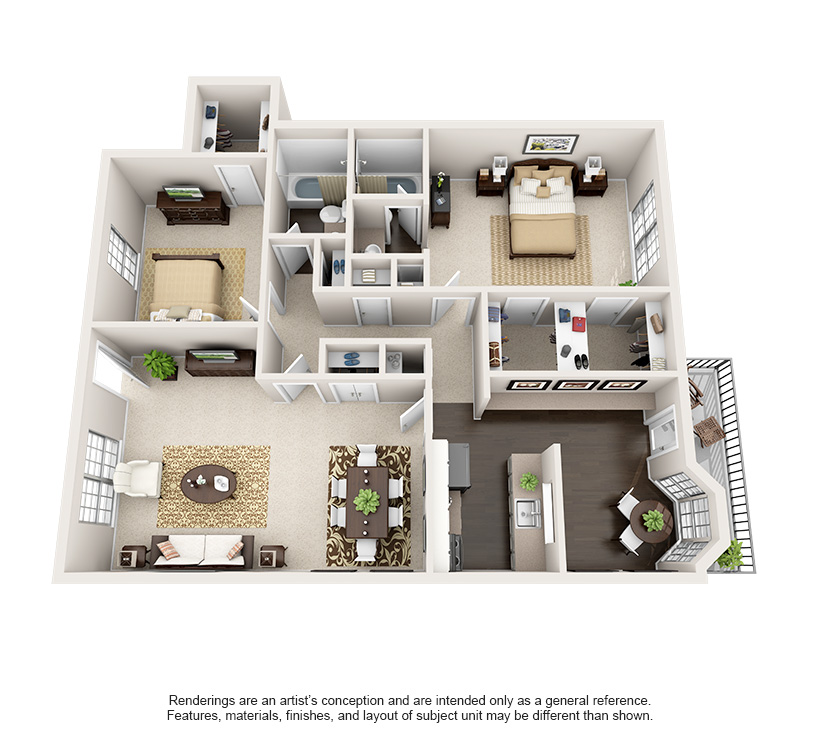 Luxury 1 2 And 3 Bedroom Apartments In Bellaire Tx Steadfast Apartment Rental Houston Texas 3d House Plans Apartment Floor Plans House Plans