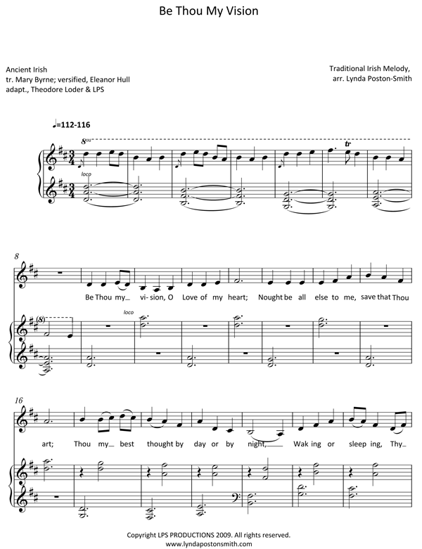 Be Thou My Vision Vocal Piano D Major 1 Sheet Music Pinterest